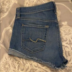 7 for All Mankind blue cut off jean shorts 26